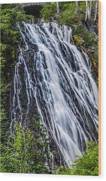 Waterfall At Mt. Rainier Wood Print
