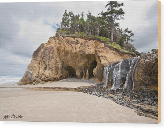 Waterfall Flowing Into The Pacific Ocean Wood Print
