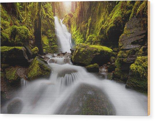 Waterfall Glow Wood Print
