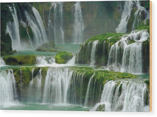 Waterfall In Green Wood Print