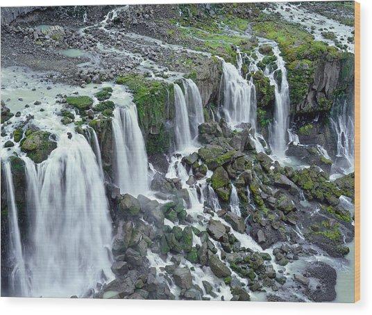 Waterfall In Iceland Wood Print by Birgir Freyr Birgisson