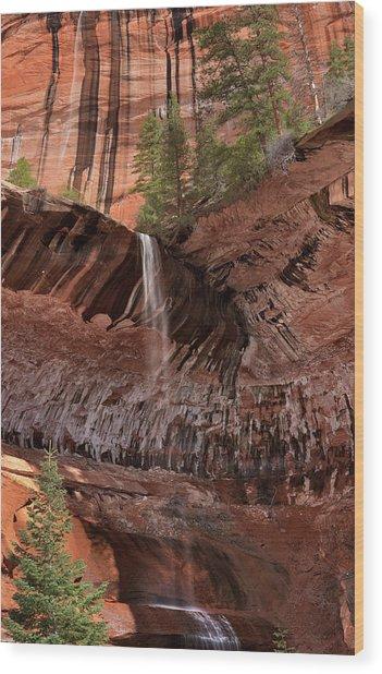 Waterfall In Kolob Canyons Wood Print by Leland D Howard