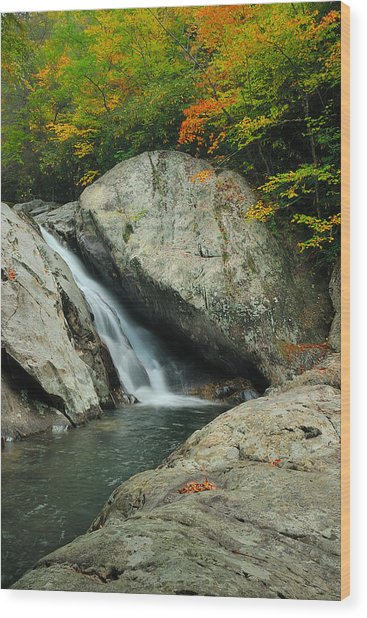 Waterfall In West Fork Of Pigeon River Wood Print