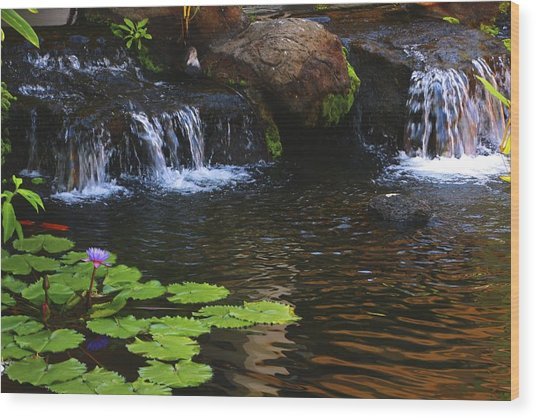 Waterfall On Kanapali Wood Print