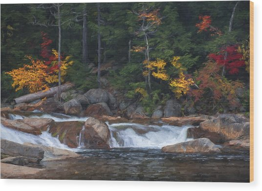 Waterfall - White Mountains - New Hampshire Wood Print
