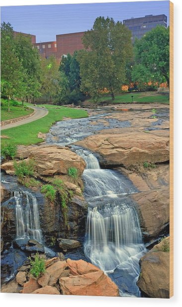Waterfalls And Downtown Greenville Sc Skyline At Dawn Wood Print