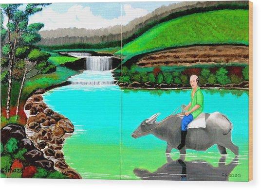 Waterfalls And Man Riding A Carabao Wood Print