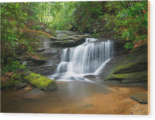 Waterfalls - Wnc Waterfall Photography Hidden Falls Wood Print