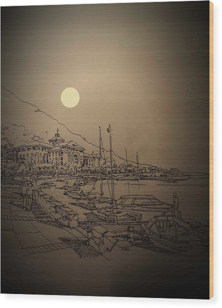Waterfront Wood Print