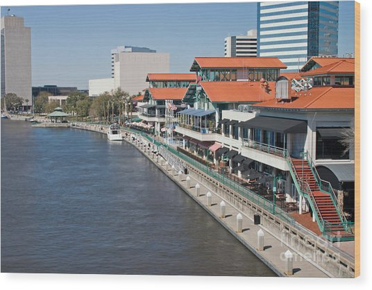 Waterfront Shopping And Dining Complex Wood Print