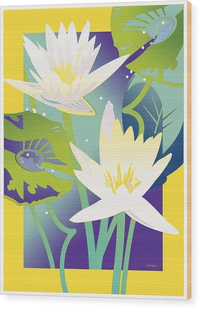 Waterlilies Yellow Border Wood Print