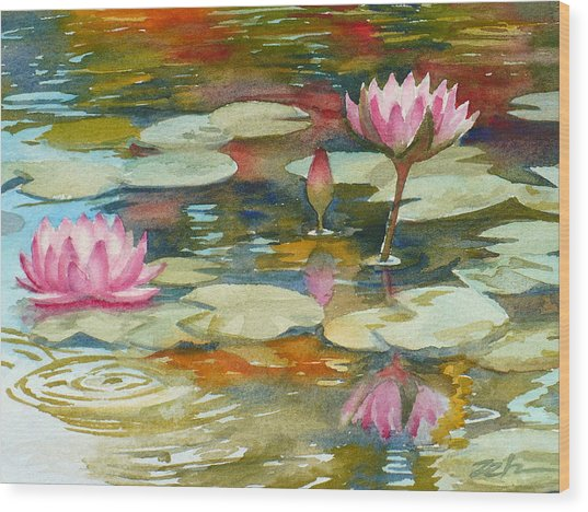 Waterlily Pond Wood Print