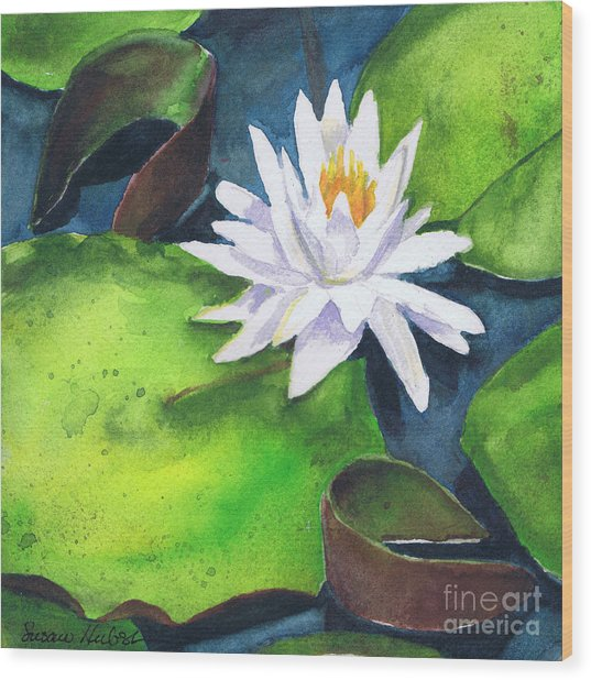 Waterlily Wood Print by Susan Herbst