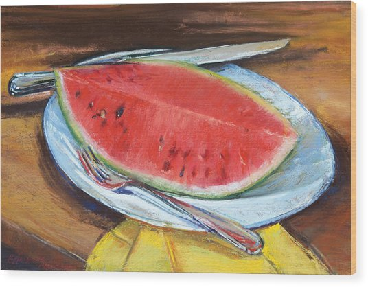 Watermelon Wood Print by Beverly Amundson