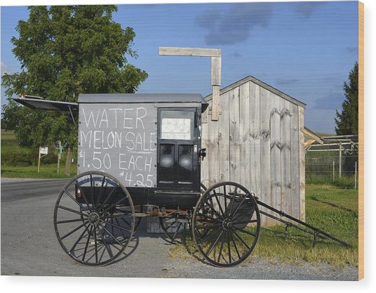 Watermelon Wagon Wood Print