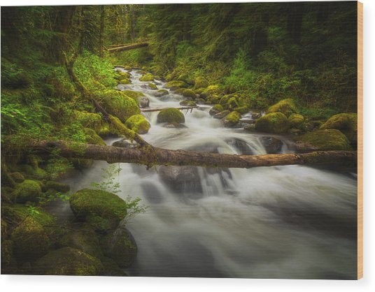 Waters Of Larch Mountain Wood Print by Stuart Deacon