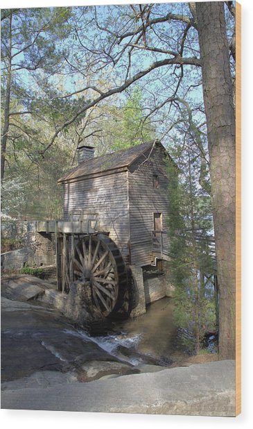 Waterwheel At Stone Mountain Wood Print