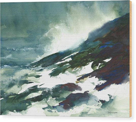 Wave And Rocks - Storm On The North Shore Wood Print