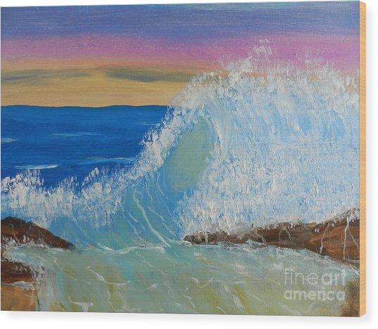 Wave At Sunrise Wood Print