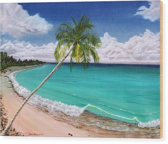 Wave Break Beach Wood Print