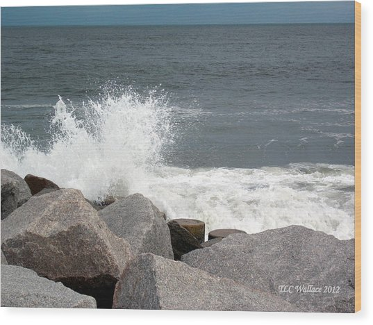 Wave Breaks On Rocks Wood Print by Tammy Wallace