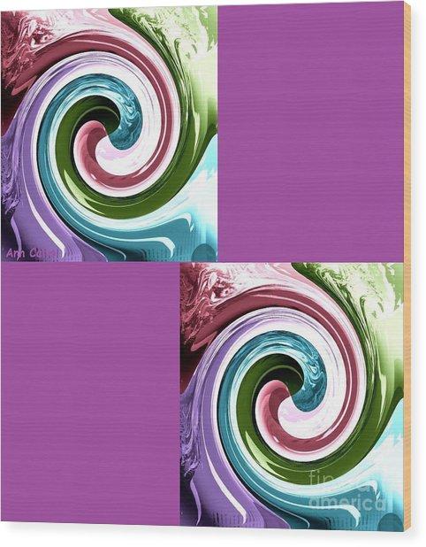 Wave Of Purple Wood Print