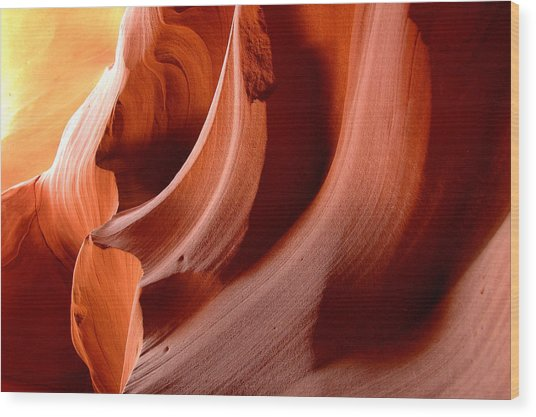 Wave Rock Forms - Upper Antelope Canyon Wood Print by Clay and Gill Ross