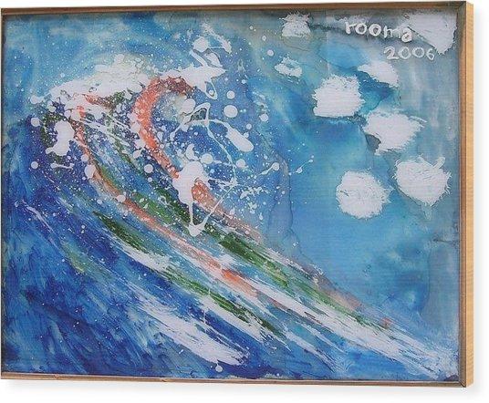 Wave Wood Print by Rooma Mehra