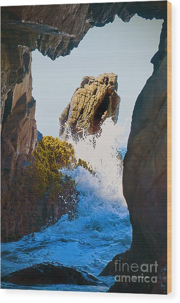 Wave Through The Cave At Pfiffer Beach In Big Sur Wood Print by Artist and Photographer Laura Wrede