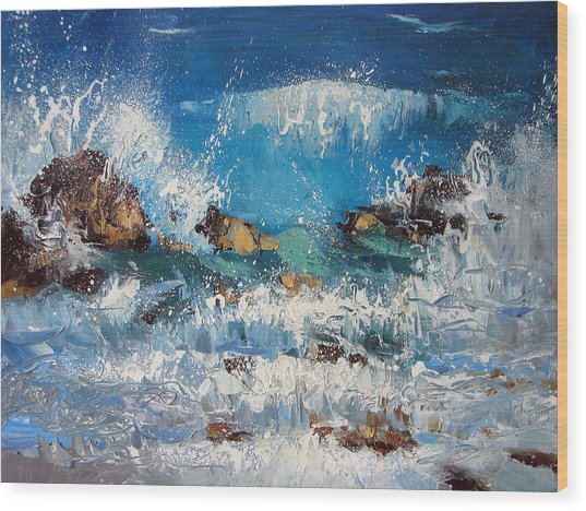 Waves And Stones Wood Print