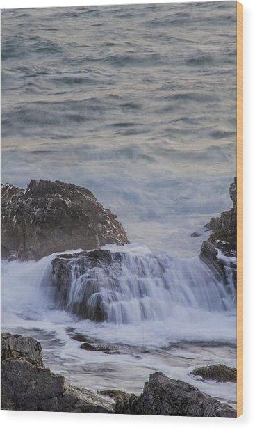 Waves Breaking Off Marginal Way Wood Print