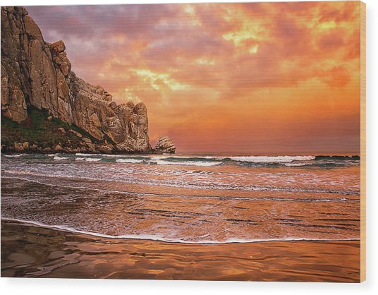 Waves Breaking On Beach At Sunrise Wood Print by Alice Cahill