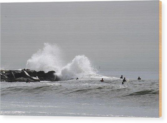 Waves Crash Against Beach 91st Jetty Wood Print