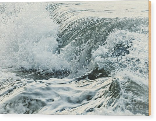 Waves In Stormy Ocean Wood Print