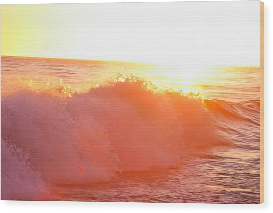 Waves In Sunset Wood Print