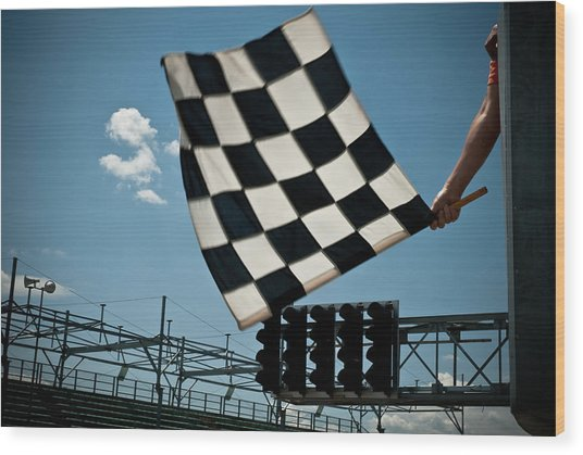 Waving Checkered Flag Wood Print by Stevedangers