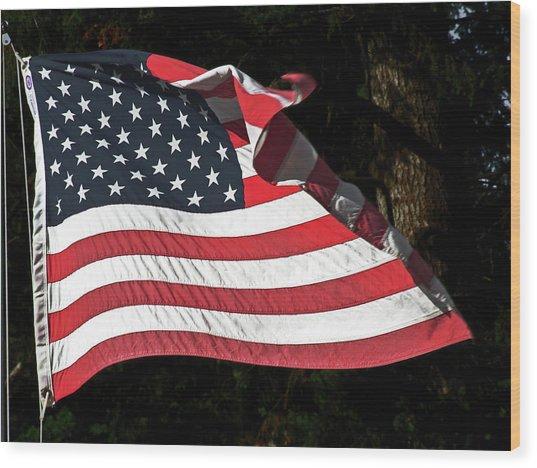 Waving Flag Wood Print