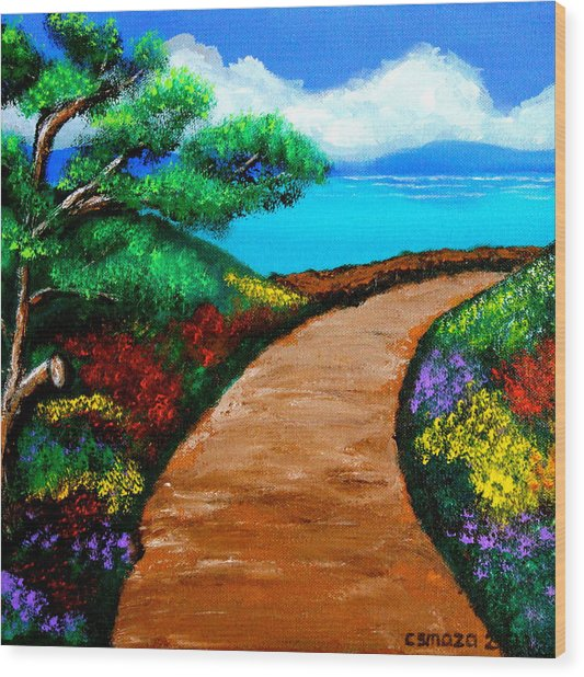 Way To The Sea Wood Print