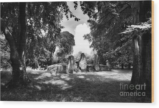 Wayland's Smithy Monochrome Wood Print by Tim Gainey