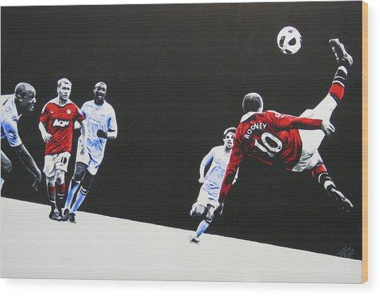 Wayne Rooney - Manchester United Fc Wood Print