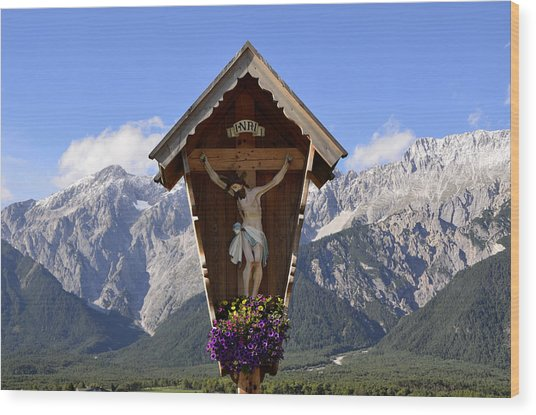 Wayside Cross In Alps Wood Print