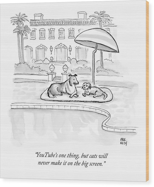 Wealthy Dogs Discuss Cats In Hollywood Wood Print