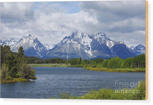 Weather On The Teton Mountain Range At Oxbow Bend Wood Print