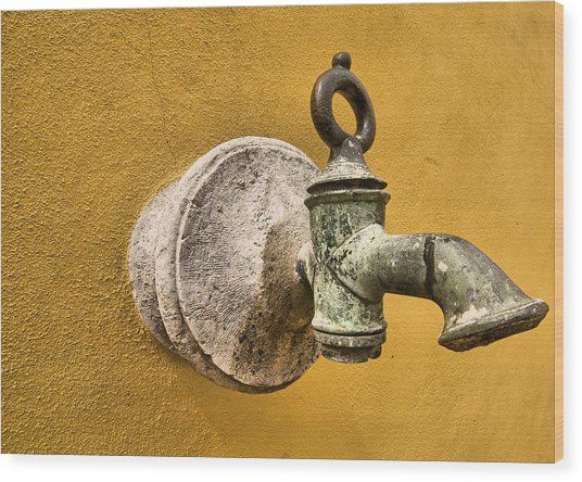 Weathered Brass Water Spigot Wood Print