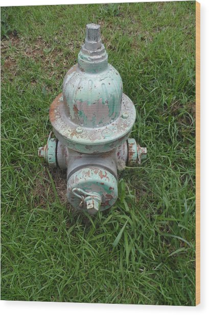 Weathered Fire Hydrant Wood Print