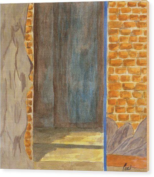 Weathered Wall With Doorway Wood Print by Bav Patel