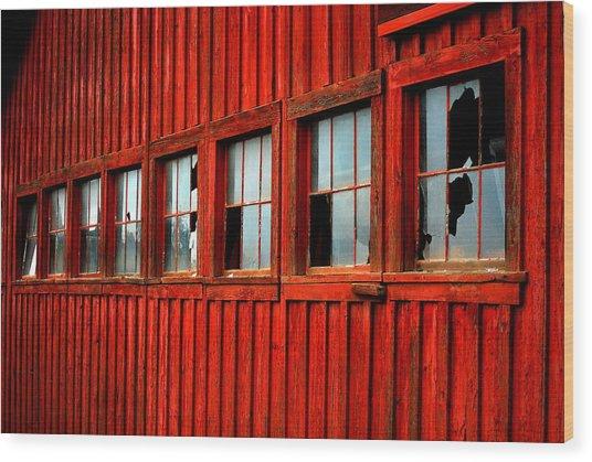 Weathered Windows Wood Print by Mamie Gunning