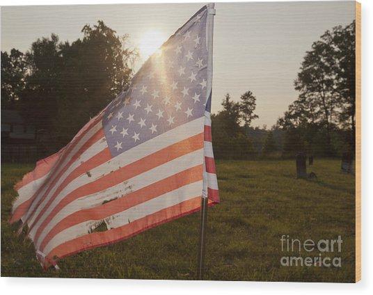 Weatherworn American Flag Wood Print by Jonathan Welch