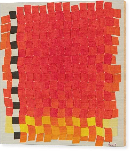 Weave #2 Sunset Weave Wood Print