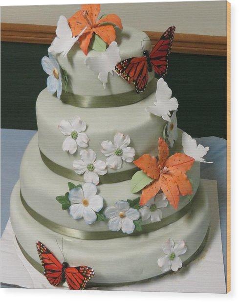 Wedding Cake For April Wood Print